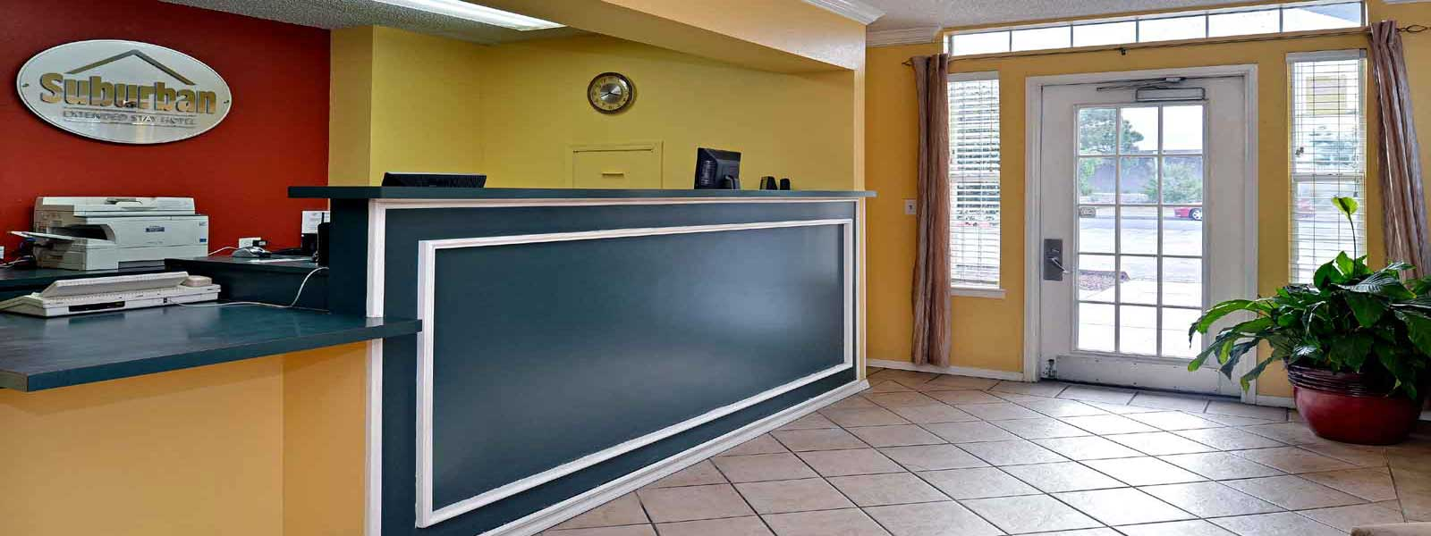 Lobby Discount Budget Cheap Affordable Hotels Motels Suburban Extended Stay